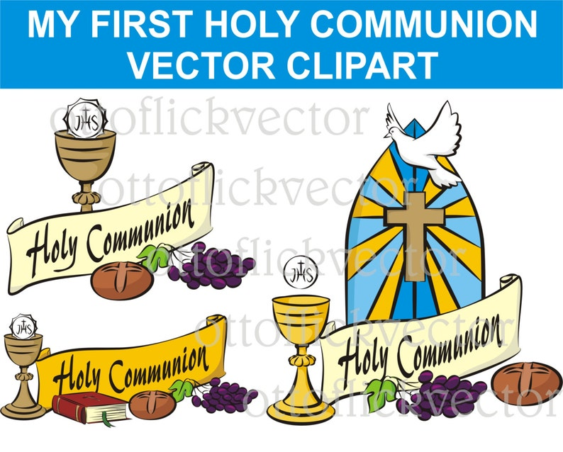 MY FIRST Holy COMMUNION Vector Clipart, religion symbols eps, ai, cdr, png,  jpg, celebrate communion banner  invitation, card, background