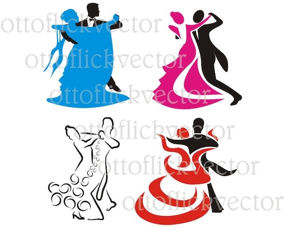 dancing silhouettes vector clipart ballroom dancing eps ai etsy
