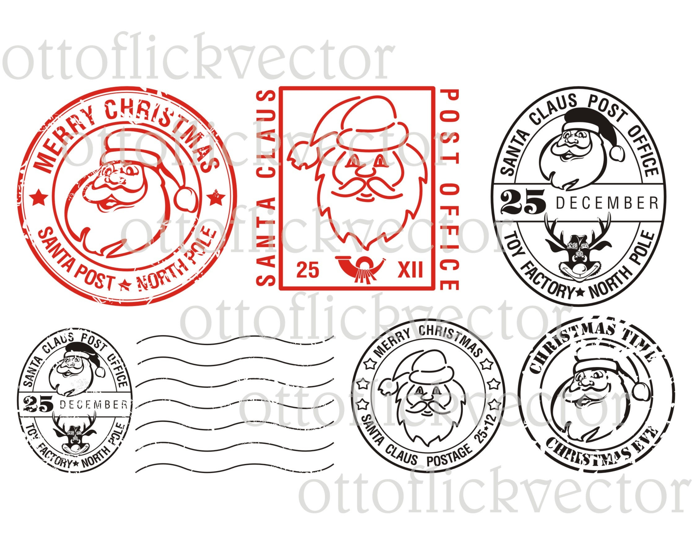 SANTA CLAUS CLIPART christmas stamp clipart eps ai cdr | Etsy