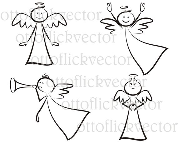 Angel Vector Clipart Stick Mam Eps Ai Cdr Funny