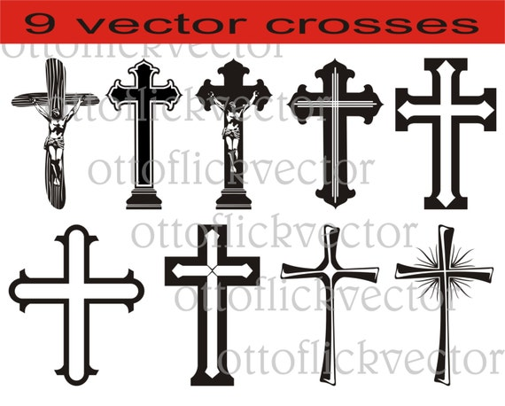 Christian Crosses Vectors Clipart Silhouettes Digital Cut Etsy