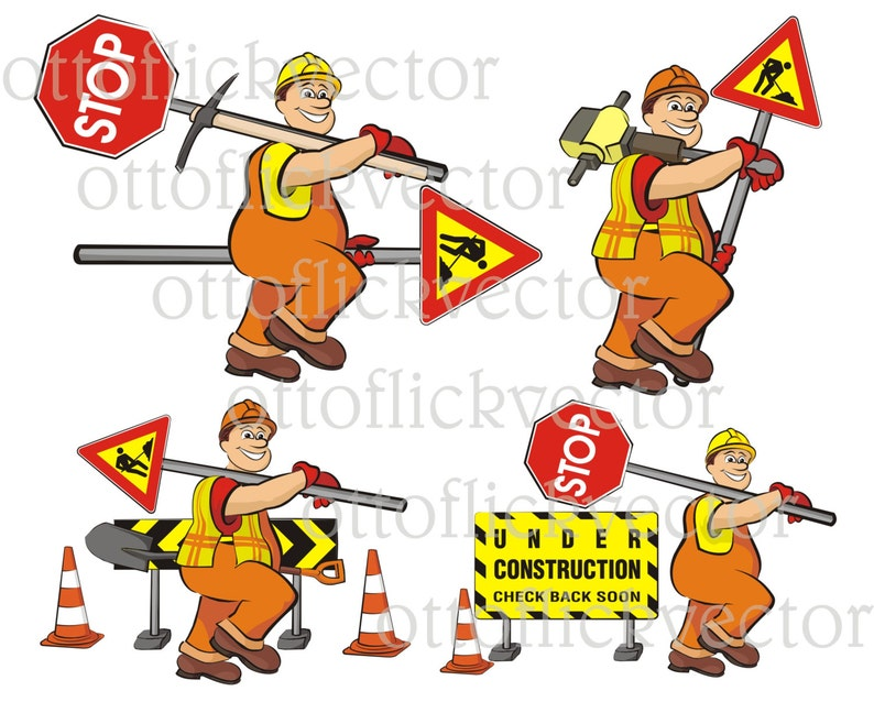 road works vector clipart road worker road signs men at