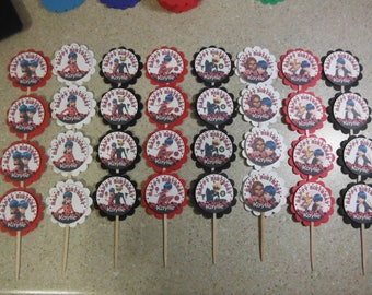 32 MIRACULOUS LADYBUG Cupcake Toppers PERSONALIZED - Picks Party Favors