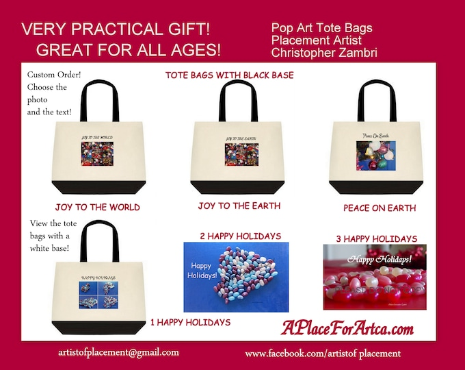 Christmas & Holiday Tote Bags For Those Who Love Pop Art!