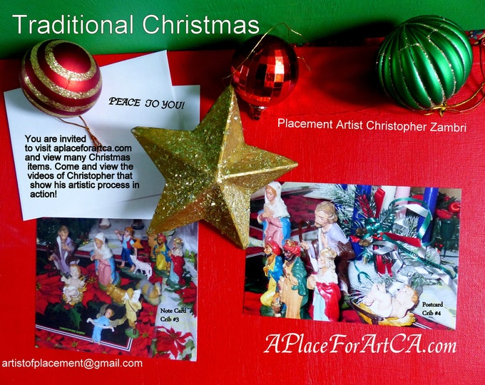 Traditional Christmas Blank Note Cards, Postcards, Pens And Posters With Placement Art