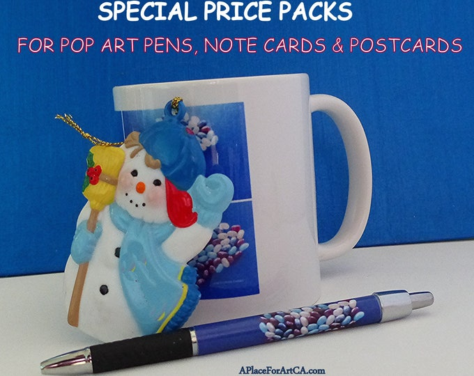 Christmas & Holidays Special Priced Packages For Pop Art Pens, Note Cards, Postcards