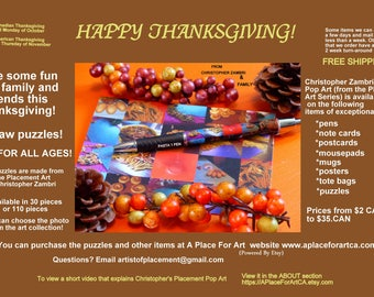 Thanksgiving Pop Art Fun With Jigsaw Puzzles, Pens, Posters, Mugs, Tote Bags, Mousepads, Postcards, Note Cards