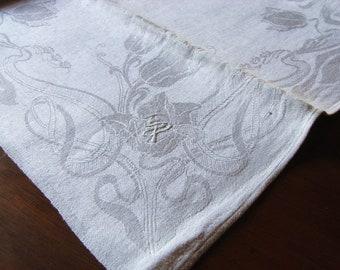 Tischwäsche Wunderschönes Leinen Damast Tafeltuch Mit Großem Prunkmonogramm