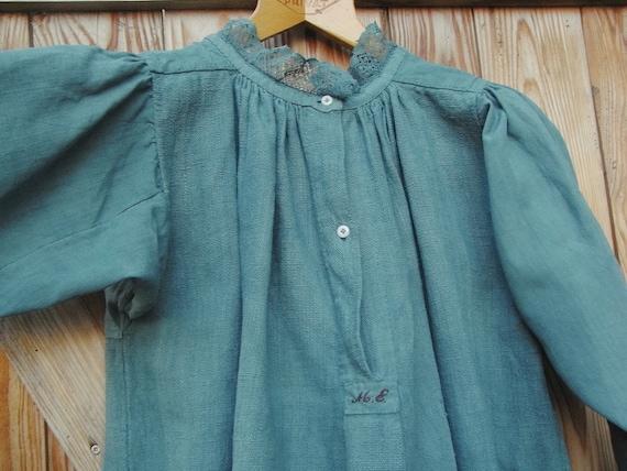 Victorian, antique shirt, linen dress petrol, stil