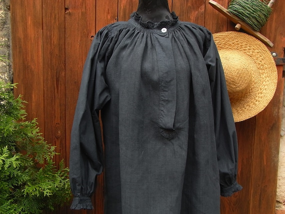 antique shirt, linen dress with lace, tunic, night