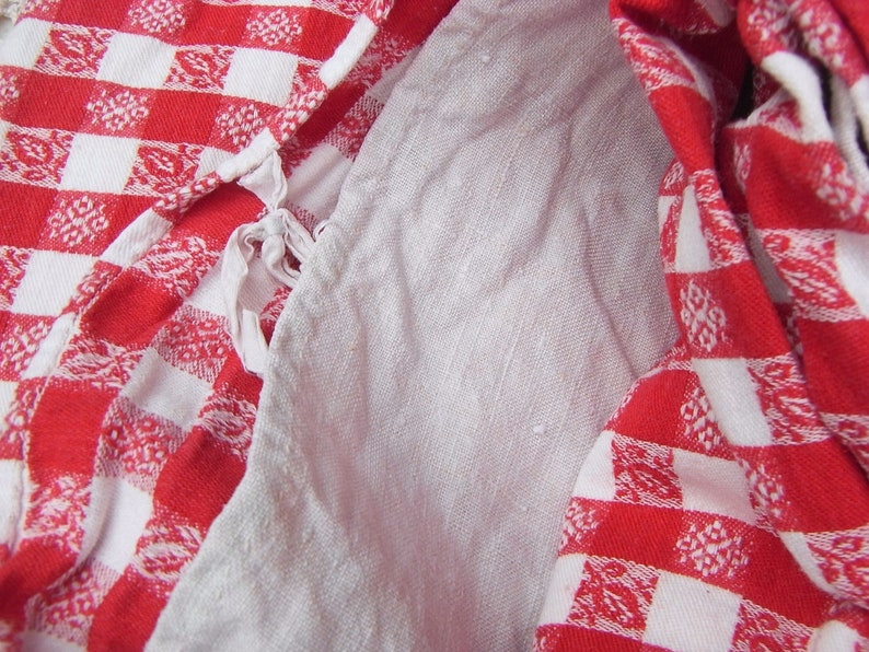 vichy plaid fabric rustic farmhouse decoration linen duvets cover hand stitched patchwork quilting antique peasant bedding kelsch
