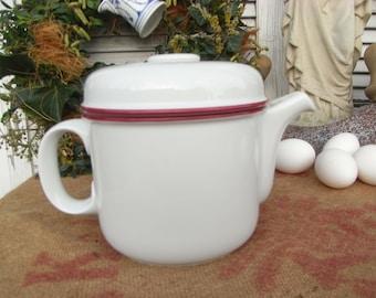 vintage teapot Thomas SCANDIC RUBIN, red edge, red edge, 70s Rosenthal design, jug, white porcelain
