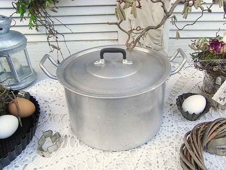 Etsy & Ancient pot aluminium cooking pot as an overpot flower pot flower box rustic farmhouse and shabby chic decoration for kitchen and garden