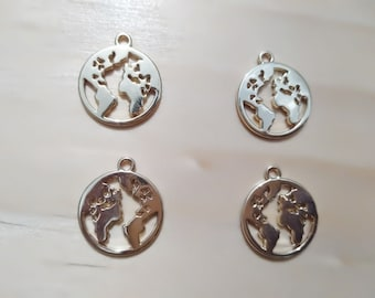 BULK 50 World map connector charms antique silver tone WT272