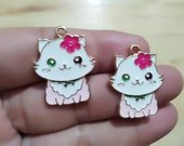 Bulk 30Pcs Cat Charms, Gold Enamel Cats Charm, Animal Cherry charms ,Kitty Pet Metal Charms Pendant Earrings Jewelry Making DIY 22 28mm