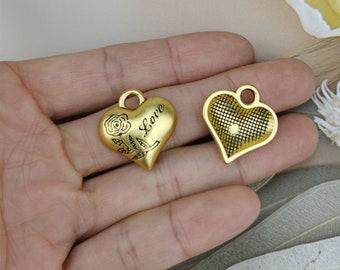 20*21MM Dumb Gold Heart Charm Pendant,Rose Flower Charm,Letter Love Charm Pendant for Bracelet Earring Necklace DIY