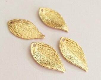 50Pcs Gold Colors Leaf Shape Charm Pendant Bulk Charms Pendants for Nature Leaves Charm Jewelry