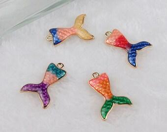 Mermaid Charm,Mermaid Tail Charm,19*27mm 10pcs/lot Gold Tone Oil Drop Charms Pendants For DIY Jewelry Making Accessories