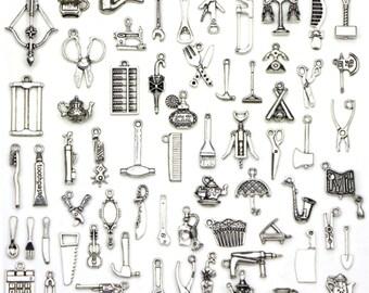 BULK Mix 65 Pcs Life tool set Charm,Anqitue Arrow Charms Pendants,Geometric Charms for Necklace Earrings Bracelet DIY Jewelry