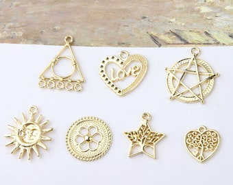 10pcs Hollow Geometric Metal Charms Pendants Triangle/Tree Heart/Star/Sun/Letter Heart Charms For DIY Handmade Earring Jewelry Accessories