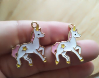 Bulk10 30 pcs Star Unicorn Horse Charms, Gold Plated Locorne Enamel Charm,Animal Fly Horse Charm Pendant For DIY Jewelry Making Accessories
