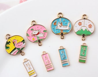 Flamingo /rabbit/ Fuji mountain/cat wind chimes Connect charm,Square Tags Charms DIY Pendant for Earring Necklace Bracelet Jewelry Supplies