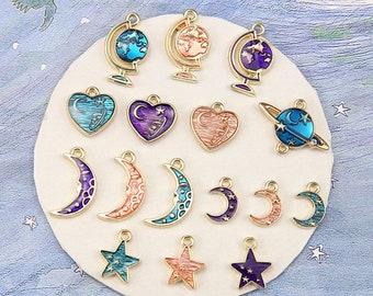 Gold Enamel Universe Series Charm Pendant,Star Moon Charms,globe Charm Collection,Planet Pendants Charms for Necklace Earrings DIY Jewelry