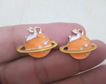 2 Color Animal Rabbit Saturn Charms Pendants, Kawaii Space Astronomy Charms,Planet Charm,Cartoon Bunny Charm,Geometric Charm DIY Jewelry
