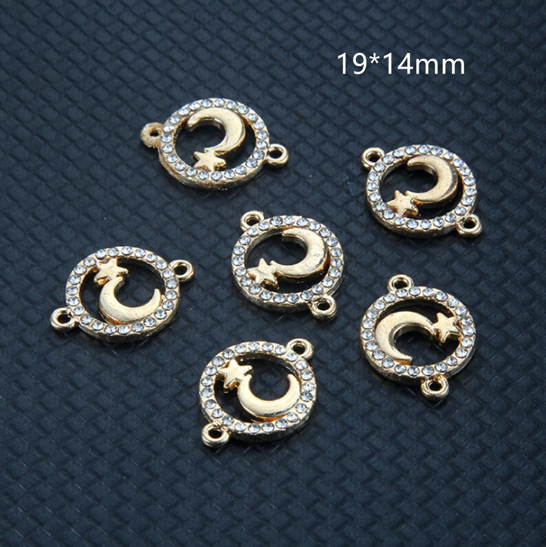 Moon Charm,Gold Round Pave Crystal Connect Charm Jewelry Accessories DIY 14*19 mm Star Charm Pendant