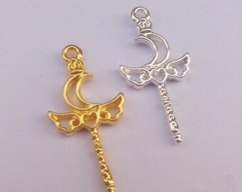 10Pcs/lot Cute Moon Heart Wing shape magic bar Metal Frame Pendant Gold Charm Bezel Setting Cabochon Setting UV Resin Charm diy Jewelry