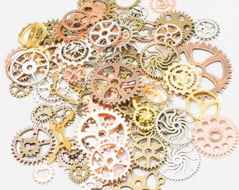 100g Mixed Retro DIY Gear Pendants Gears Cogs Clock Hands Cog Wheel Charms Jewelry Alloy Jewelry For Supplies Accessories 7 Color