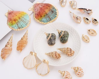 10 Style Sea Shell Charm,Gold Enamel Shell Charm,Sea animal Conch Charms Pendants,Geometric Charm Pendant Earring Necklace DIY Jewelry