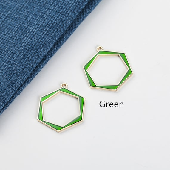 10Pcs Hexagon Charms 25*25mm,Enamel Charm,Gold Hollow Geometric Honeycomb Charm Pendant Beading Frame Findings for Jewelry Making
