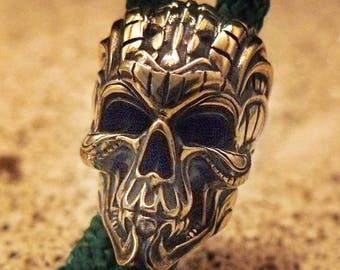 Paracord Bead Biomechanical Skull Brass Lanyard Bracelet Beads Custom EDC Tool Paracord Charms Supplies Accessories Knife DIY Beads
