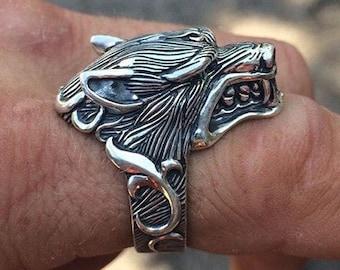 Silver Wolf Ring for Men and Women - 925 Sterling Silver Wolf Head Ring - Men's Biker Punk Rings - Wolf Jewelry - Gift for Men Boyfriend