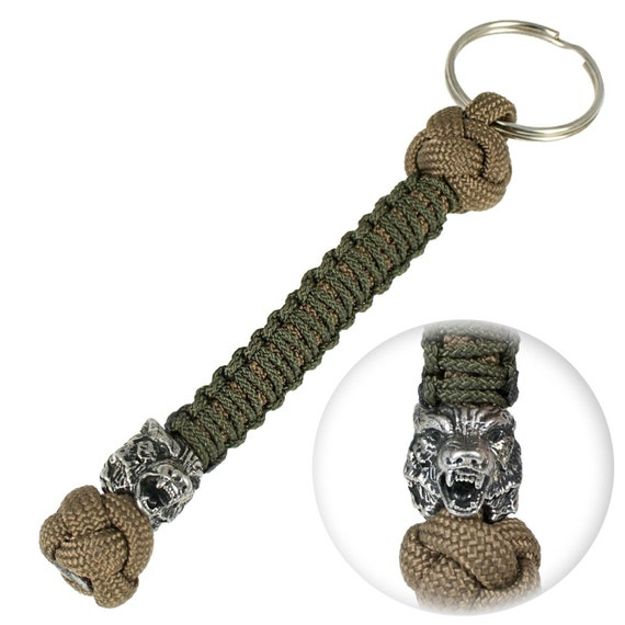 10 Paracord Keychains with Compass Black and Grey