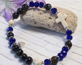 Gemstone and crystal bracelet with white gemstone cross; gemstone cross bracelet; gemstone stretch bracelet; stackable; 8 colors
