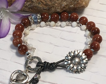 Gemstone, crystal, and white mother of pearl double-stranded boho bracelet.  leather loop & silver button closure; 6 colors