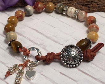 Gemstone and leather bracelet; leather loop & silver button closure; hand knotted on silk thread; 5 gemstones to choose from
