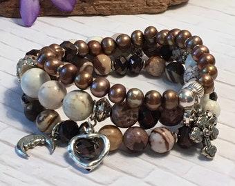Soapstone, jasper, and crystal stacking stretch bracelet set; gemstone, glass, freshwater pearls; layering bracelets;