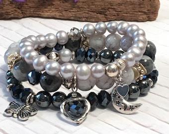 Stack bracelet set; gray freshwater pearl, black labradorite, glass marble, and crystal layering bracelets; stretch bracelets