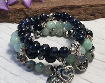 Stack bracelet set; Amazonite, blue goldstone, kiwi Jasper, navy freshwater pearl, and crystal layering bracelets; stretch bracelets