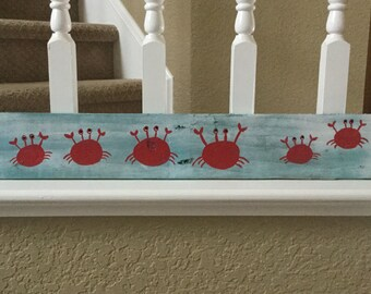 Crab sign board with custom number of crabs for number of family members and or pets.