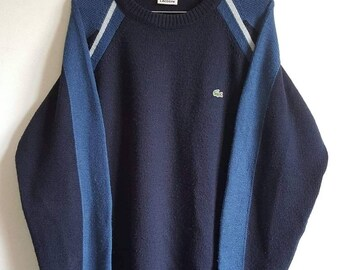 b752631471eb Pull 100% Pure Laine Vierge Lacoste Vintage Années 90 Made in France Taille  5 (L).