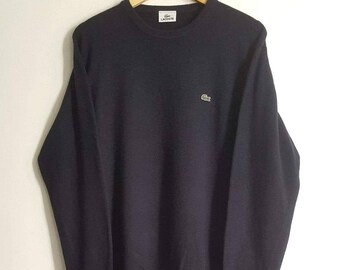 5fdd09aaeb99 Pull 100% Pure Laine Vierge Lacoste Vintage Années 90 Made in France Taille  7 (XL).