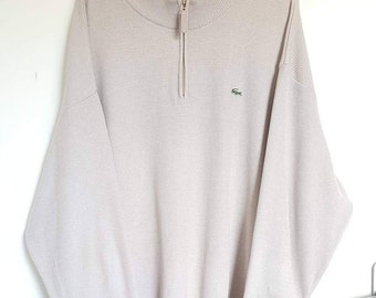 cf8a9abc95fd Pull   Sweat Half Zip Lacoste Vintage Années 90 Made in France Taille XL  (XL XXL).