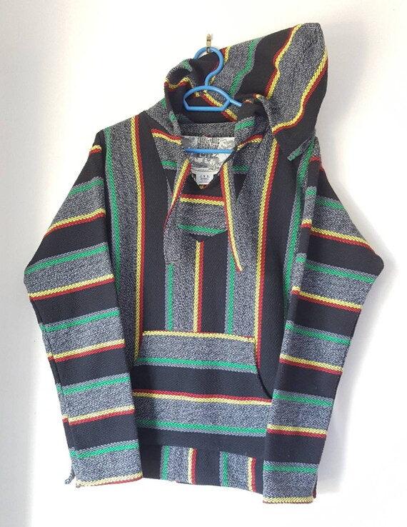 Sweat à Capuche Péruvien Vintage Années 90 00 Made in Mexico Taille S Comme Neuf.