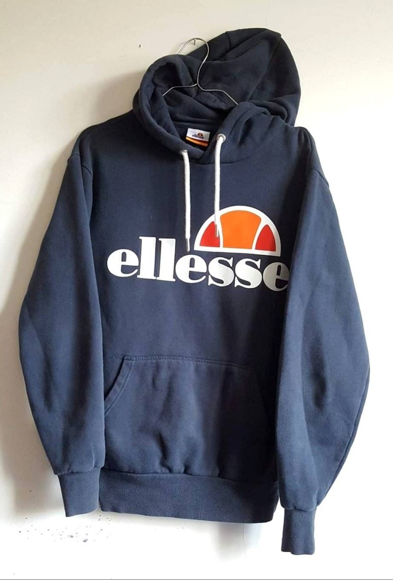 49a59388 Hooded Sweat 80% Cotton Ellesse Vintage Years 90 Size XS (XS/S).
