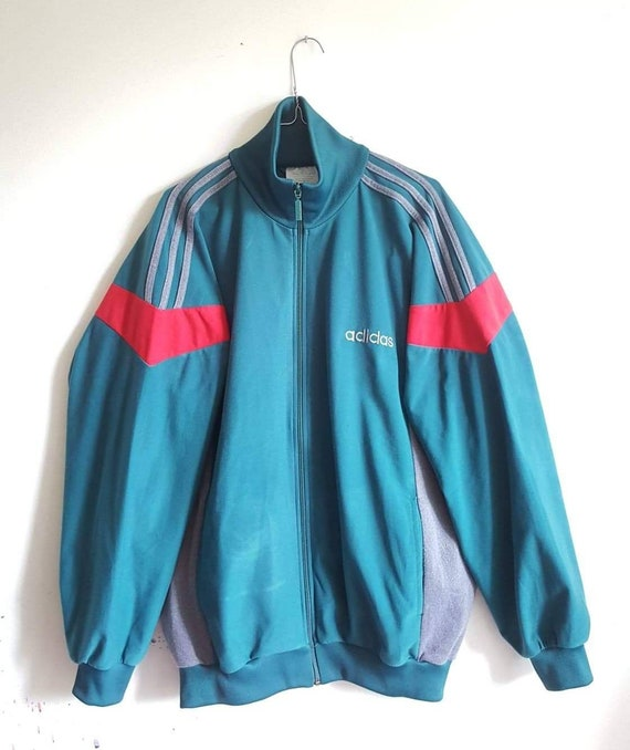 Veste Sport Velours Peau de Pêche Adidas Vintage Années 80 90 Taille L Comme Neuf RARE.