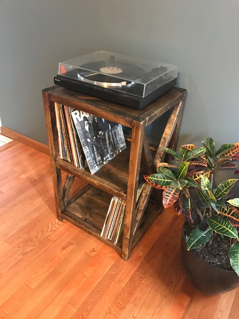 Rustic Record Player Stand Vinyl Storage X Cross Feature Etsy